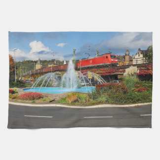 Goods train in Linz on the Rhine Kitchen Towel