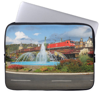 Goods train in Linz on the Rhine Laptop Sleeve