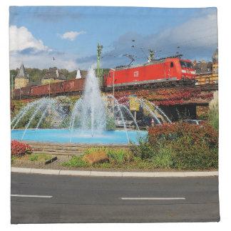 Goods train in Linz on the Rhine Napkin