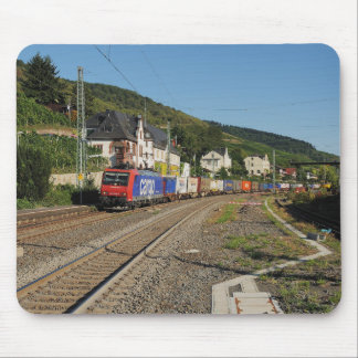 Goods train in Lorch on the Rhine Mouse Pad