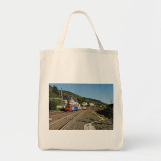 Goods train in Lorch on the Rhine Tote Bag