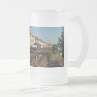Goods train in Lorchhausen on the Rhine Frosted Glass Beer Mug