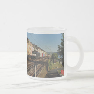 Goods train in Lorchhausen on the Rhine Frosted Glass Coffee Mug