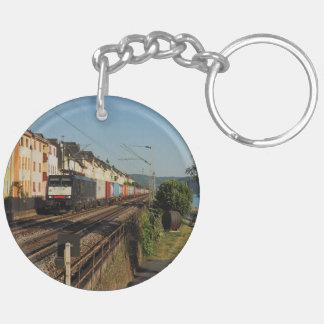 Goods train in Lorchhausen on the Rhine Keychain