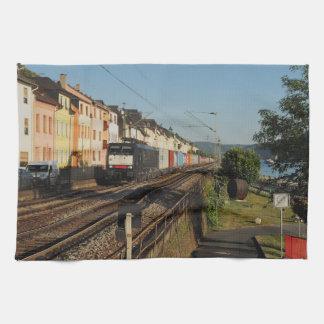 Goods train in Lorchhausen on the Rhine Kitchen Towel