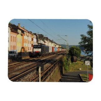 Goods train in Lorchhausen on the Rhine Magnet