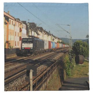Goods train in Lorchhausen on the Rhine Napkin