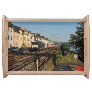 Goods train in Lorchhausen on the Rhine Serving Tray