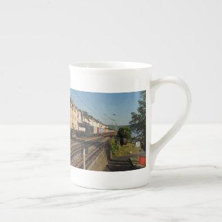 Goods train in Lorchhausen on the Rhine Tea Cup