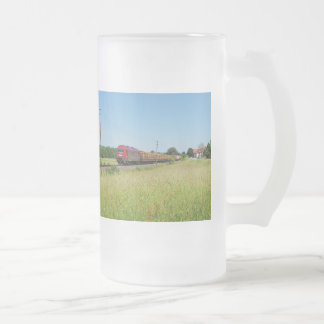 Goods train in Simtshausen Frosted Glass Beer Mug