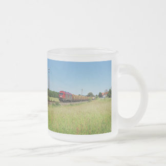Goods train in Simtshausen Frosted Glass Coffee Mug