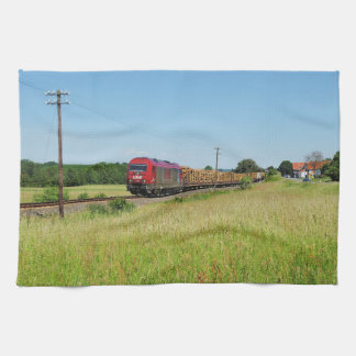 Goods train in Simtshausen Kitchen Towel