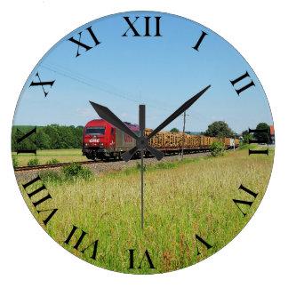 Goods train in Simtshausen Large Clock