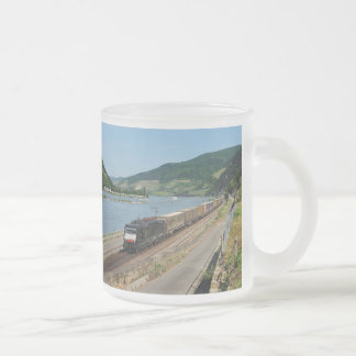 Goods train with ASS one ASS on the Rhine Frosted Glass Coffee Mug
