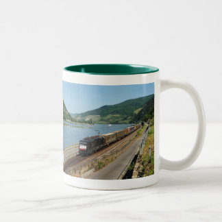Goods train with ASS one ASS on the Rhine Two-Tone Coffee Mug