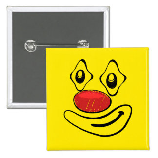 Goofy Clown Yellow Smiley Face 2 Inch Square Button