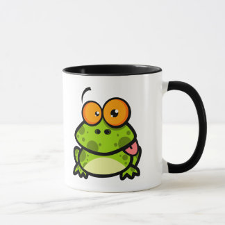 goofy cute frog sticking out tongue mug