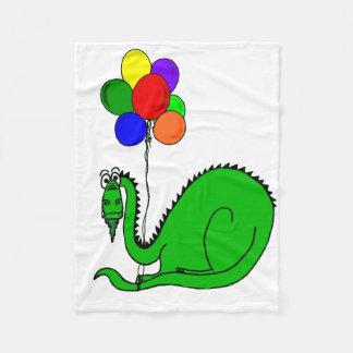 Goofy Dragon Holding Balloons Fleece Blanket