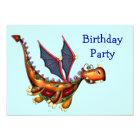 Goofy Flying Dragon Birthday Party Card