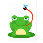 goofy frog catching a fly cartoon