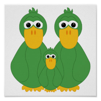 Goofy Green Ducks And Baby Poster