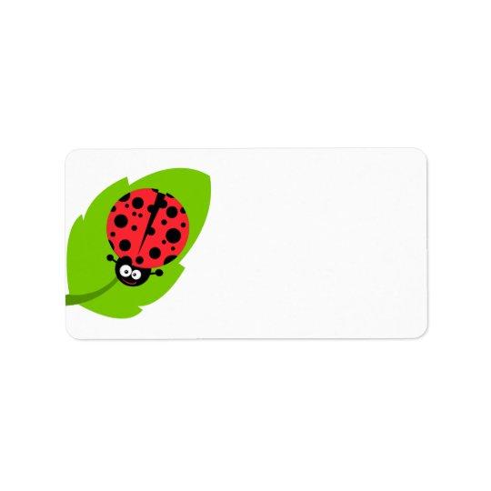 goofy ladybug on a leaf label