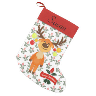 Goofy Reindeer Holly & Bells Personalized Stocking