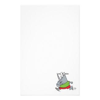 goofy running jogger rhino cartoon stationery