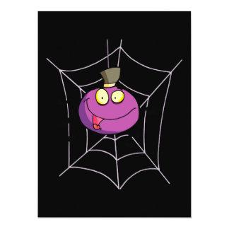 """goofy silly cute spider in web cartoon 6.5"""" x 8.75"""" invitation card"""