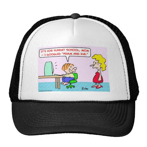 googled adam and eve trucker hat