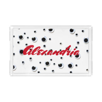 Googly Eyes Black and White Red Trendy Custom Serving Tray