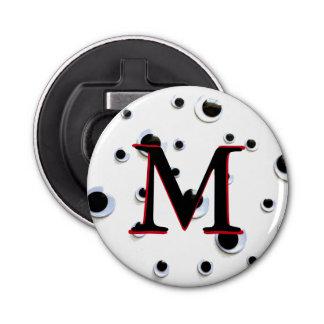 Googly Eyes Black and White Trendy Monogram Button Bottle Opener
