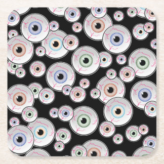 Googly Eyes Floating in Black Square Paper Coaster