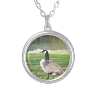 Goose at the waterfront, Wildlife Animals, Nature Silver Plated Necklace