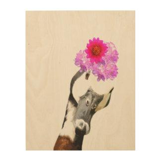 Goose cute farm animal watercolor wood wall art