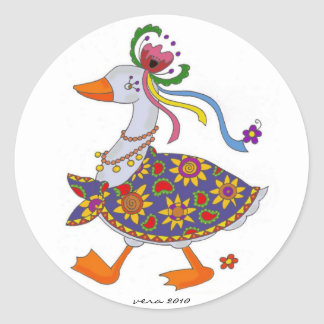 Goose Goes Out Ukrainian Folk Art Classic Round Sticker