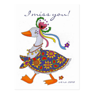 Goose Goes Out Ukrainian Folk Art Postcard
