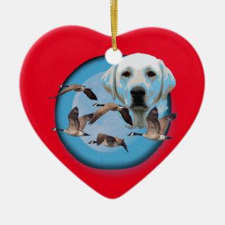 Goose hunter 3 ceramic heart ornament