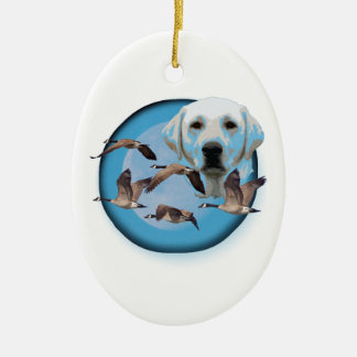 Goose hunter 3 ceramic oval ornament