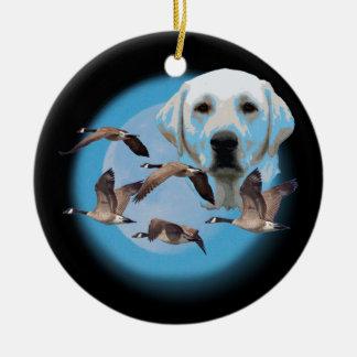 Goose hunter 3 round ceramic ornament