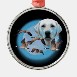 Goose hunter 3 Silver-Colored round ornament