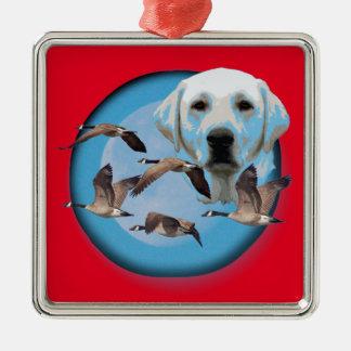 Goose hunter 3 Silver-Colored square ornament