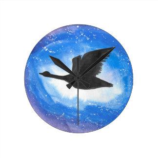 Goose In Flight Round Clock
