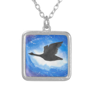 Goose In Flight Silver Plated Necklace