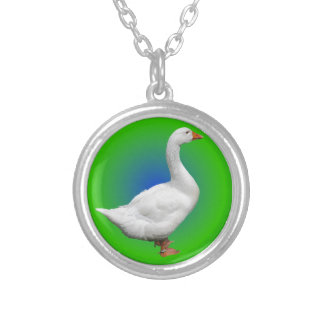 Goose in the circle silver plated necklace