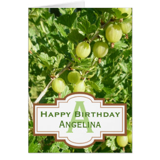 Gooseberry Fruit On Bush Monogram Birthday Card