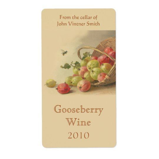 Gooseberry wine bottle label shipping label