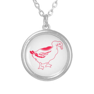 Goosey Gander Redwork Silver Plated Necklace