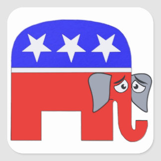 GOP Elephant Square Sticker