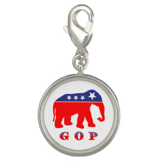GOP - Red, White & Blue Elephant Charm